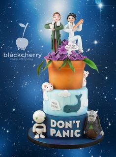 Hitchhikers Guide to the Galaxy Wedding Cake Don't Panic