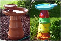 Clay pot bird baths