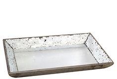 20x13 Mirrored Wood Tray- OKL. Mary's Master bedroom