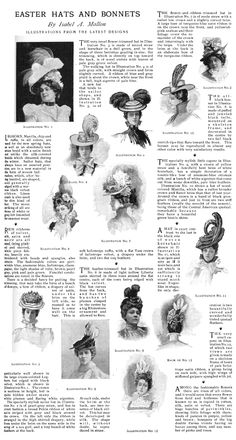 Easter Hats and Bonnets by Isabel A. Mallon. http://www.cs.arizona.edu/patterns/weaving/articles/SAMPLES/lhj_hat0.gif
