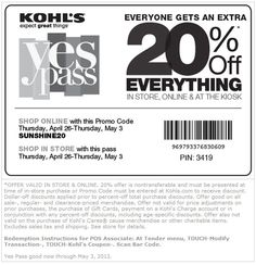 Kohl's: 20% off Printable Coupon - Save 20% off everything in store & online through 5/3