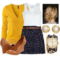 Nice look with polka dot skirt! Instead of heels those would be cute flats in the same color!:)