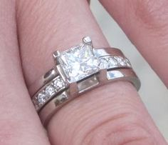 Stunning Princess Cut Jacket Engagment Ring with Eternity Wedding Band ...