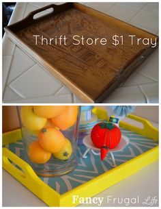 Thrift store tray makeover bottom could be burlap and could be used to hold mason jars with silverware on one of those pallet tables..just ideas!