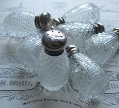 Seven Very Vintage Faceted Crystal Glass Salt Shakers  $29.00