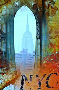 NYC Empire State Orange Abstract