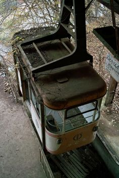 Old abandoned trolley car
