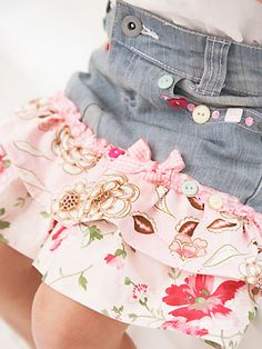 Transform girl's jeans into a skirt