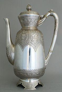 Beautiful silver chocolate pot.