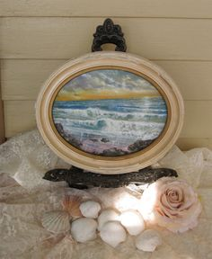 Original Oil Painting Seascape Beach Scene Ocean by Fannypippin,