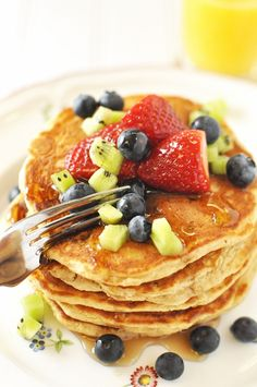 Yum! Berries and healthy wheat germ pancakes!