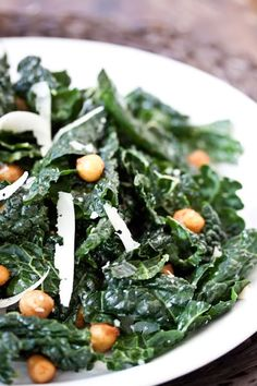Tuscan Kale Salad with Roasted Chickpeas....two of my favorites salad ingredients ever!