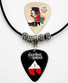 Sleeping with Sirens Black Leather Guitar Pick Necklace plus Pick on Wanelo