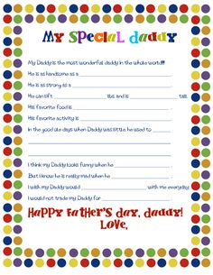 Perfect for #FathersDay: Free Worksheet for the kids by Family Spice