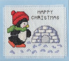 Penguin Cross-stiched Card