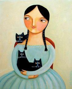 3 Black #Cats #portrait #painting #illustration #art