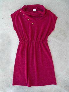 Raspberry Knit Sweater Dress