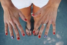 | red, white, and blue nails |