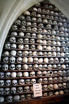 St Leonards Ossuary, Hythe ~ the vaulted passageway 'neath the sanctuary was used for centuries as a bone house,  to inter bones which were discovered when fresh graves were built. These dated back to the later mediaeval period and numbered in their thousands!