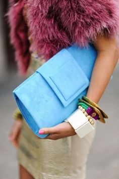 accessorizing isnt just about throwing on a bunch of jewelry, but also using your clothing as an accessory, as seen with this fur top.