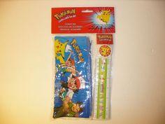 Pokemon Vintage 1999 School Set - Pencil, Pouch, Sharpener, Eraser, and Ruler