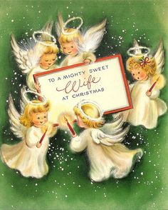 Sweet Angels Vintage Christmas Card 1940s
