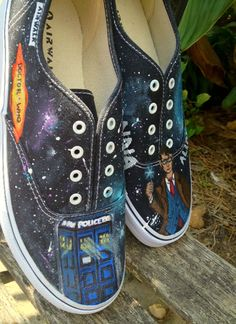 Doctor Who Inspired Custom Painted Shoes. $113.00, via Etsy.