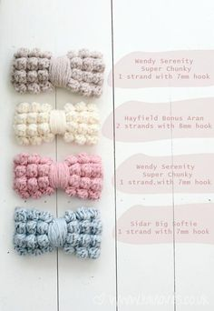 Free pattern for Crochet Chunky Bobble Bow @ Lululoves