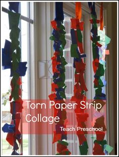 Torn paper strip sticky collage by Teach Preschool