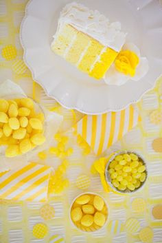 Yellow ombre cake by Rosebeary's Design. Candy from 42nd Street Candy Company. Photo by Picturesque Photos by Amanda. #wedding #yellow #cake #ombre #candy #favor