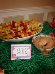 Fruit wands at a Fairy birthday party #fairy #partyfood
