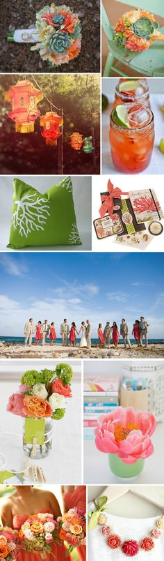 #Coral and #Green Weddings
