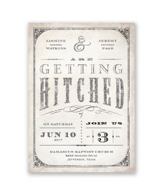 Getting Hitched with Style Glitter Wedding Invitation by David's Bridal.