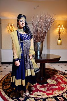 indian wedding royal blue and gold yellow anarkali and jewelry