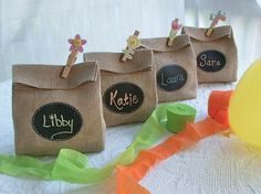 Set of 8 Burlap Gift Bags with Chalk Cloth labels to customize over and over again