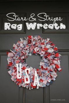 Stars and Stripes Rag Wreath via createcraftlove.com #wreath #ragwreath #fabric #4thofjuly