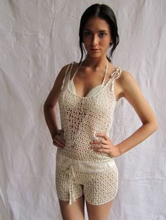Anna Kosturova crochet romper