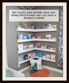 Make corner selves to place books and small nick nacks on, it takes up less room then a bookshelf. #remax #remaxnova #nursery #cohenmacinnis