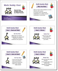 Math Buddy Chat Freebie from Laura Candler - Aligned with Common Core Math Practices - Step-by-step problem solving method for partners
