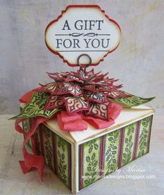 Designs by Marisa: JustRite Papercraft July Release - Poinsettia Gift Box
