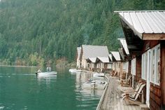 Ross Lake in the North Cascades of Washington State. The cabins float on the lake.  You have to hike down to the lake and then take a water taxi to the resort.