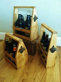 growler carrier | Beer Tote Beer Carrier Handmade Gift Combo Growler, Bomber, 6 Pack