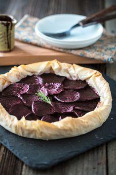 Balsamic Roasted Beet & Rosemary Cashew Cheese Phyllo Tart
