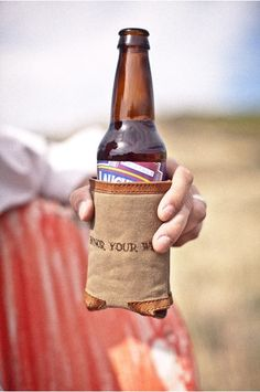 Rugged Leather Waxed Canvas Koozie (Tobacco) for beer cans and bottles - foam insulation and tagline, Honor your Wild stitched on koozie