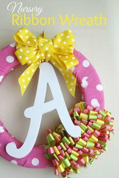 DIY Nursery Ribbon Wreath - Frugal Mom Eh!