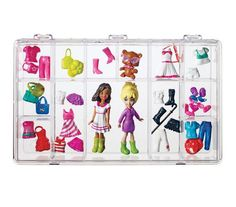 Clear snap-shut cases typically used for hardware or beads are perfect for tiny dolls and their fashion accessories.