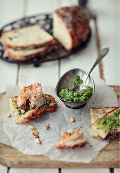 Toast with Pesto, Shrimp & Garlic