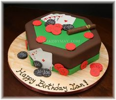 A #cigar and poker-themed cake is perfect for any man's birthday, groom's cake or anniversary!