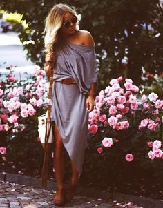 Over the shoulder belted maxi for fall
