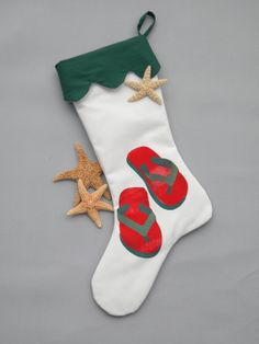 Flip flop stocking red green coastal beach sand by crabbychris, $40.00